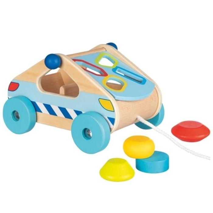 Mașinuță Din Lemn Cu Forme De Sortat – Jucărie Educativă