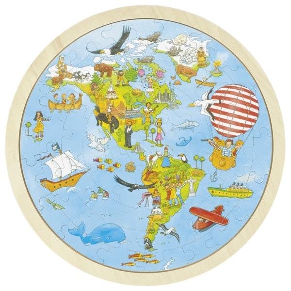Puzzle Circular Din Lemn – Lumea Nouă
