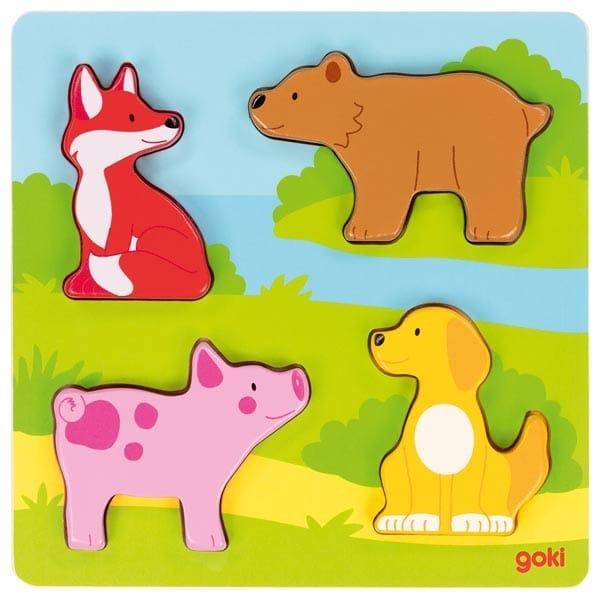 Puzzle Cu Animale Din Lemn Pentru Bebeluși