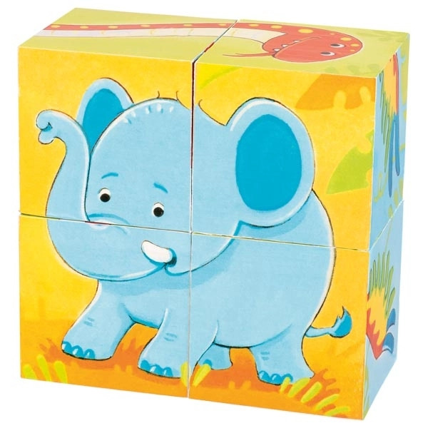 Cuburi Din Lemn Pentru Bebeluși – Animale Sălbatice Elefant