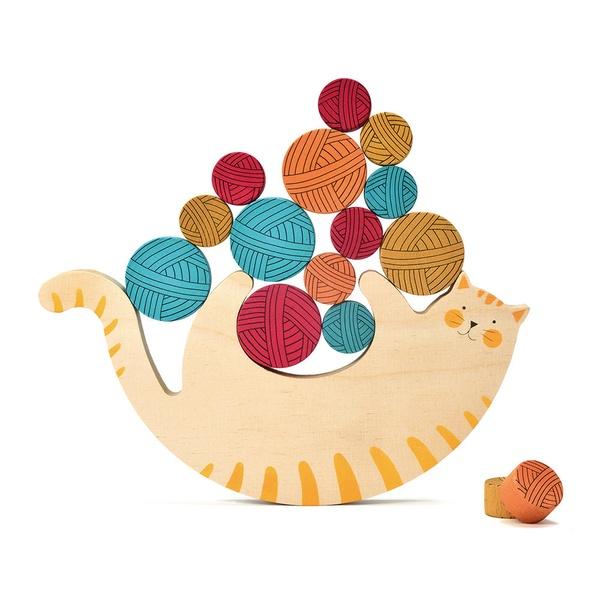 Joc de echilibru pisica din lemn (2)
