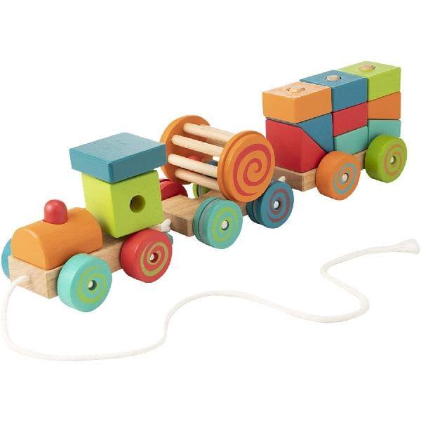 Jucărie De Tras – Trenuleț Cu Cuburi Din Lemn