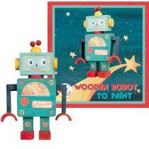 Jucarie Robot Din Lemn De Construit Si Pictat