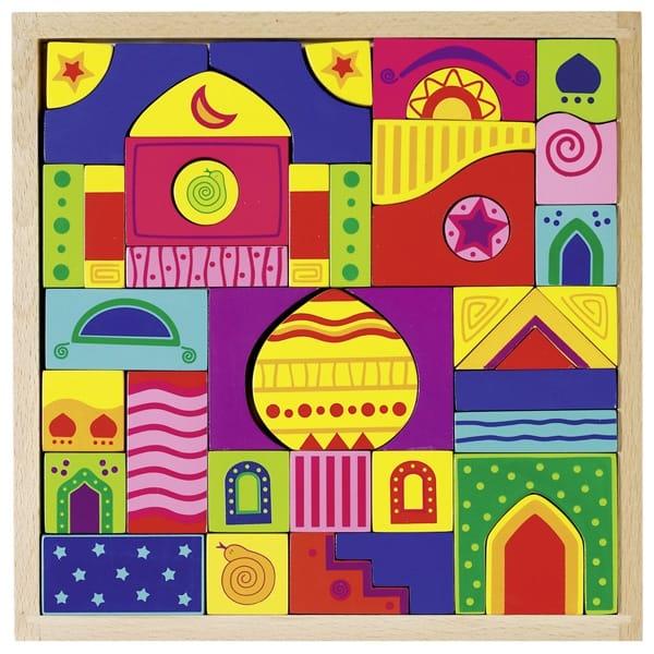 Puzzle Mozaic Din Lemn Cu Piese Asimetrice