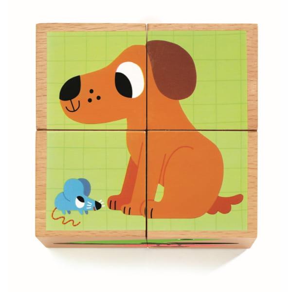 Set Cuburi din Lemn Cu Animale.2