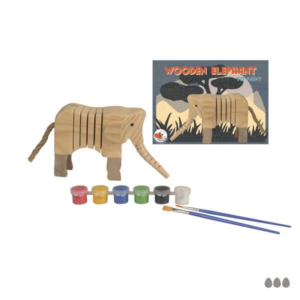 Set De Pictură – Elefant Din Lemn