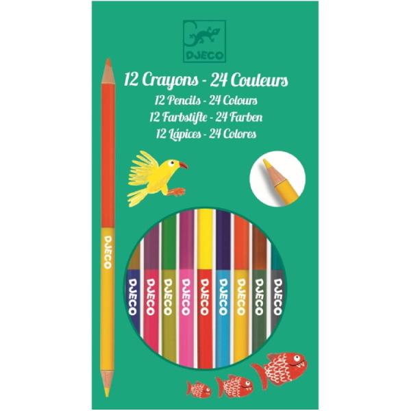 12 Creioane Colorate Duble