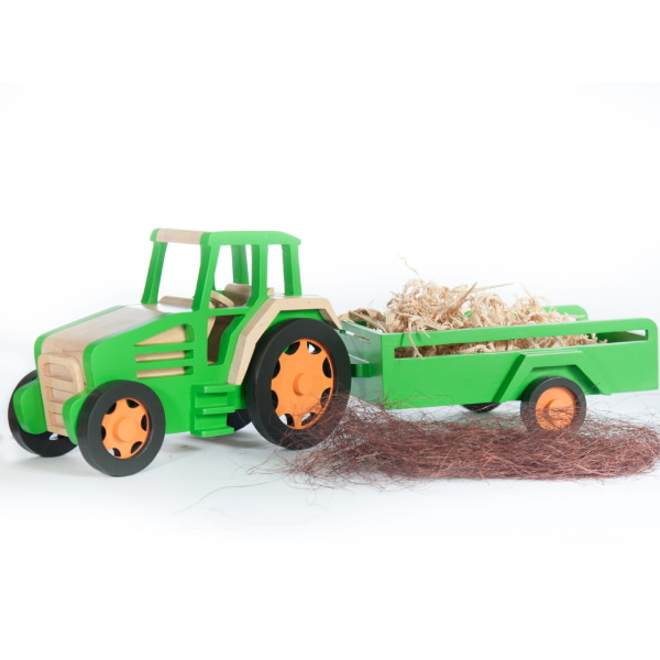 Jucărie Handmade – Tractor Cu Remorcă-1