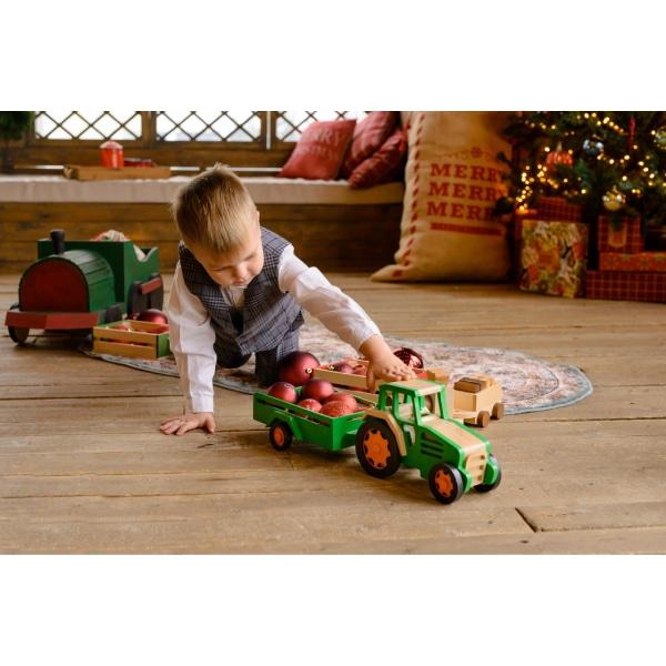 Jucărie Handmade – Tractor Cu Remorcă-3